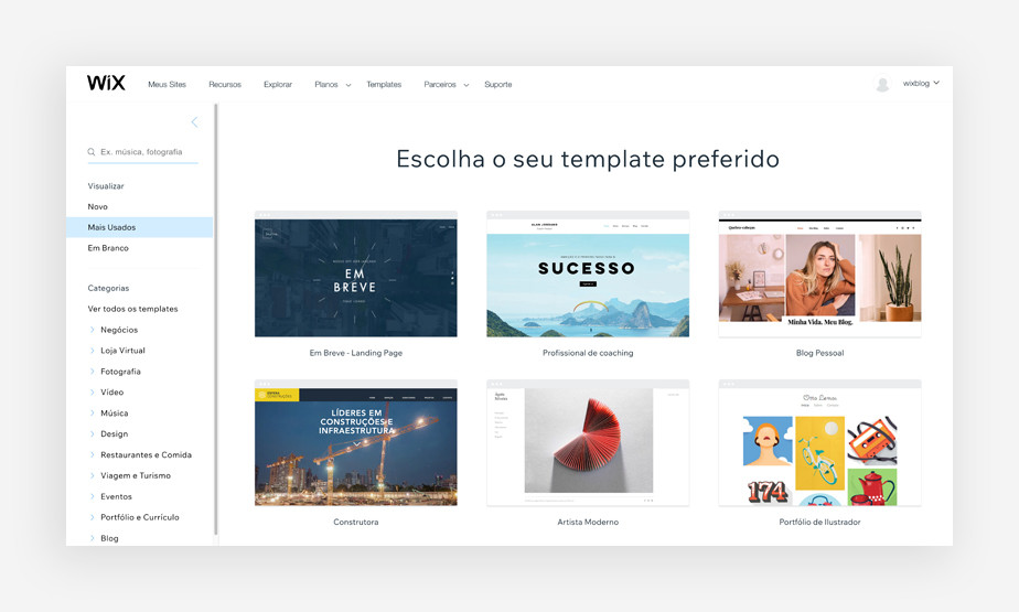Página de templates para sites do Wix