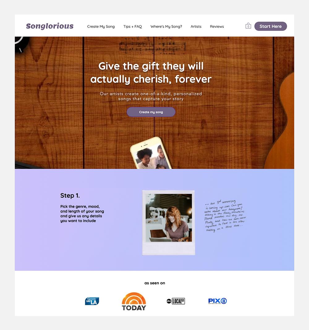 Songlorious ana sayfası