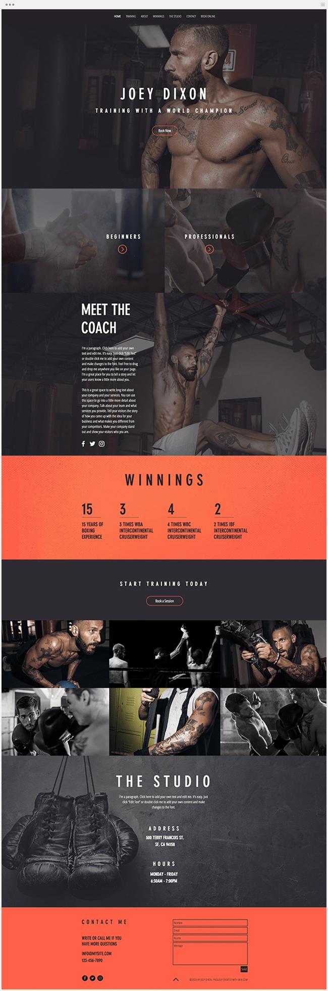 template gratuit site internet salle de sports