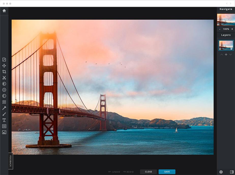 Bearbeitung einer Landschaftsaufnahme mit Pixlr X