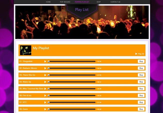 Exemple d'invitation créée avec Wix - liste de lecture SoundCloud