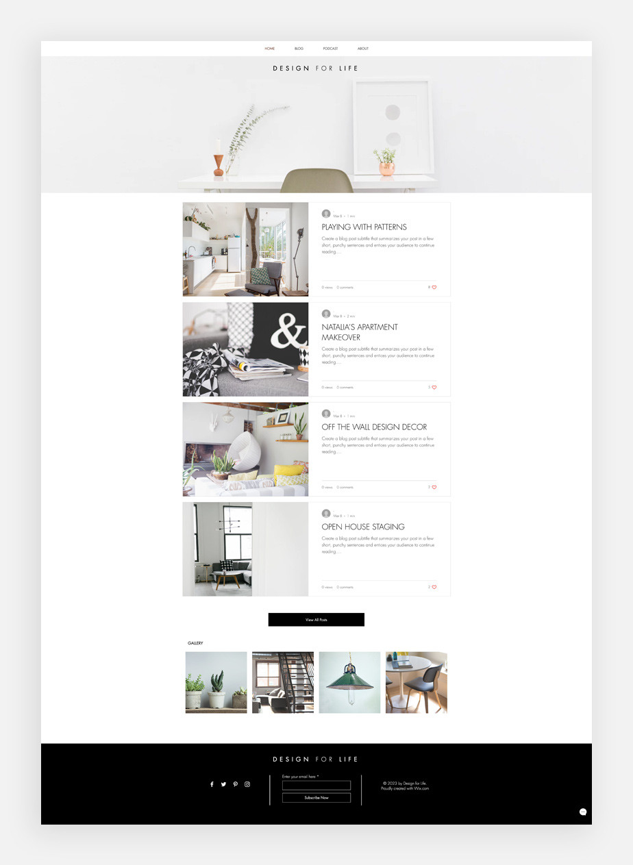 감각적이고 깔끔하게 정돈된 홈 디자인을 보여주는 디자인 블로그 템플릿