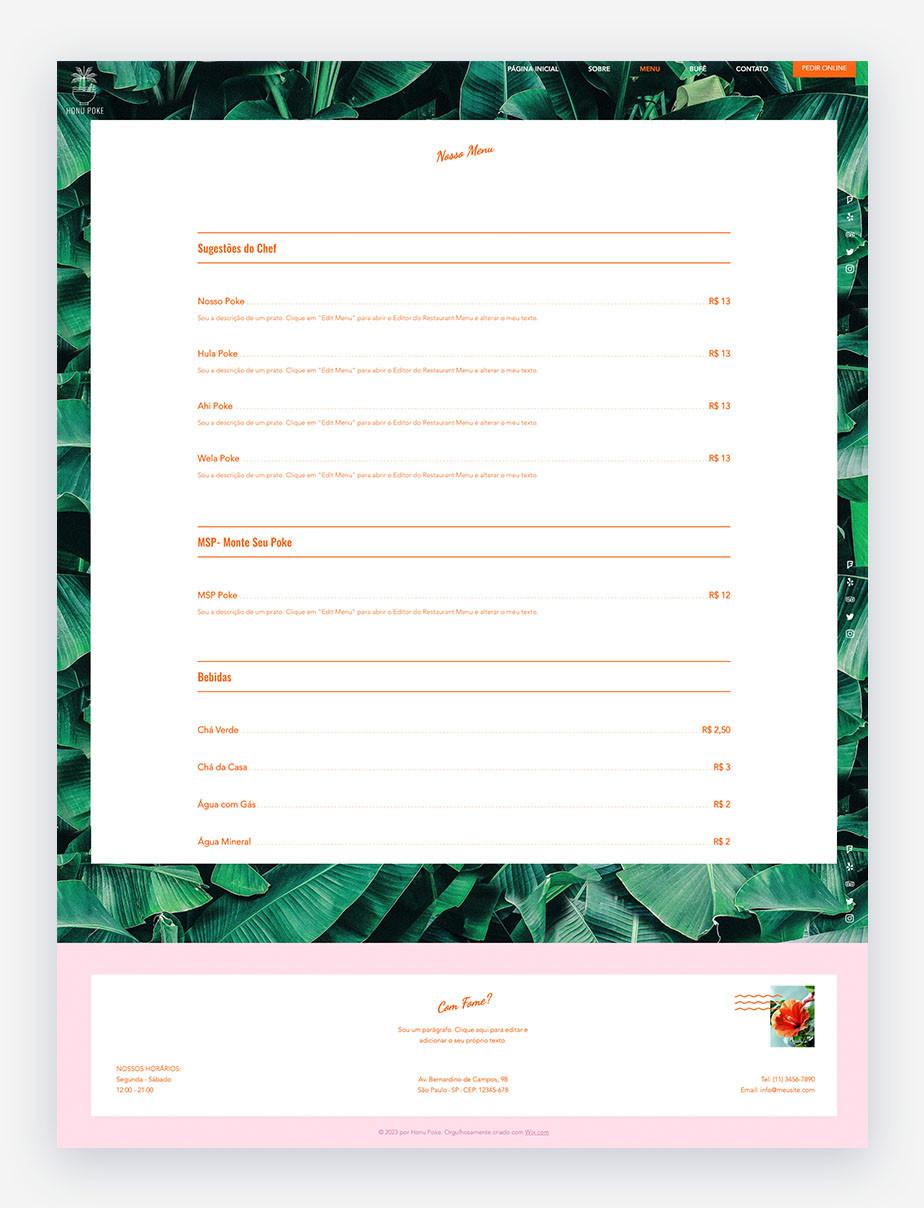 Exemplo da página de Menu em um dos templates de restaurantes do Wix