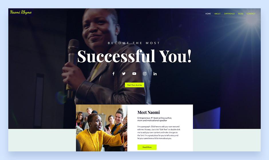 web sitesi örnekleri: konuşmacı site şablonu