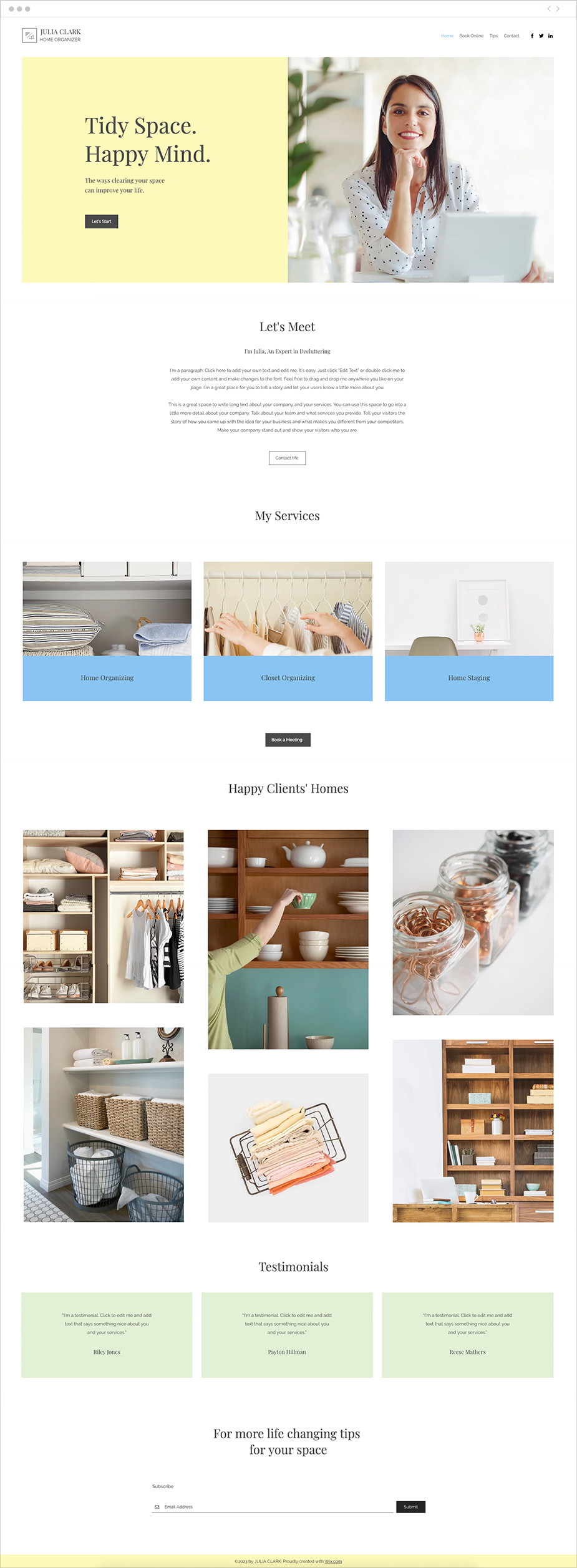 Home Organizer Website Template