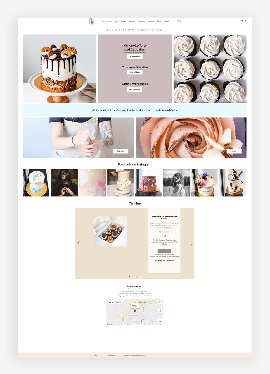 Screenshoot der Website von Life i better with Buttercream
