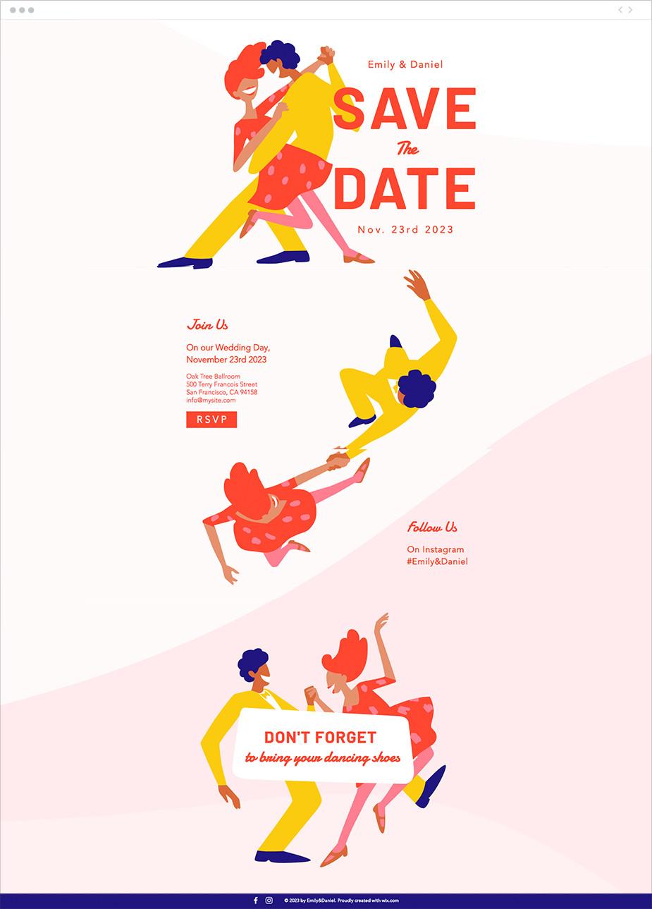Template de site invitation mariage