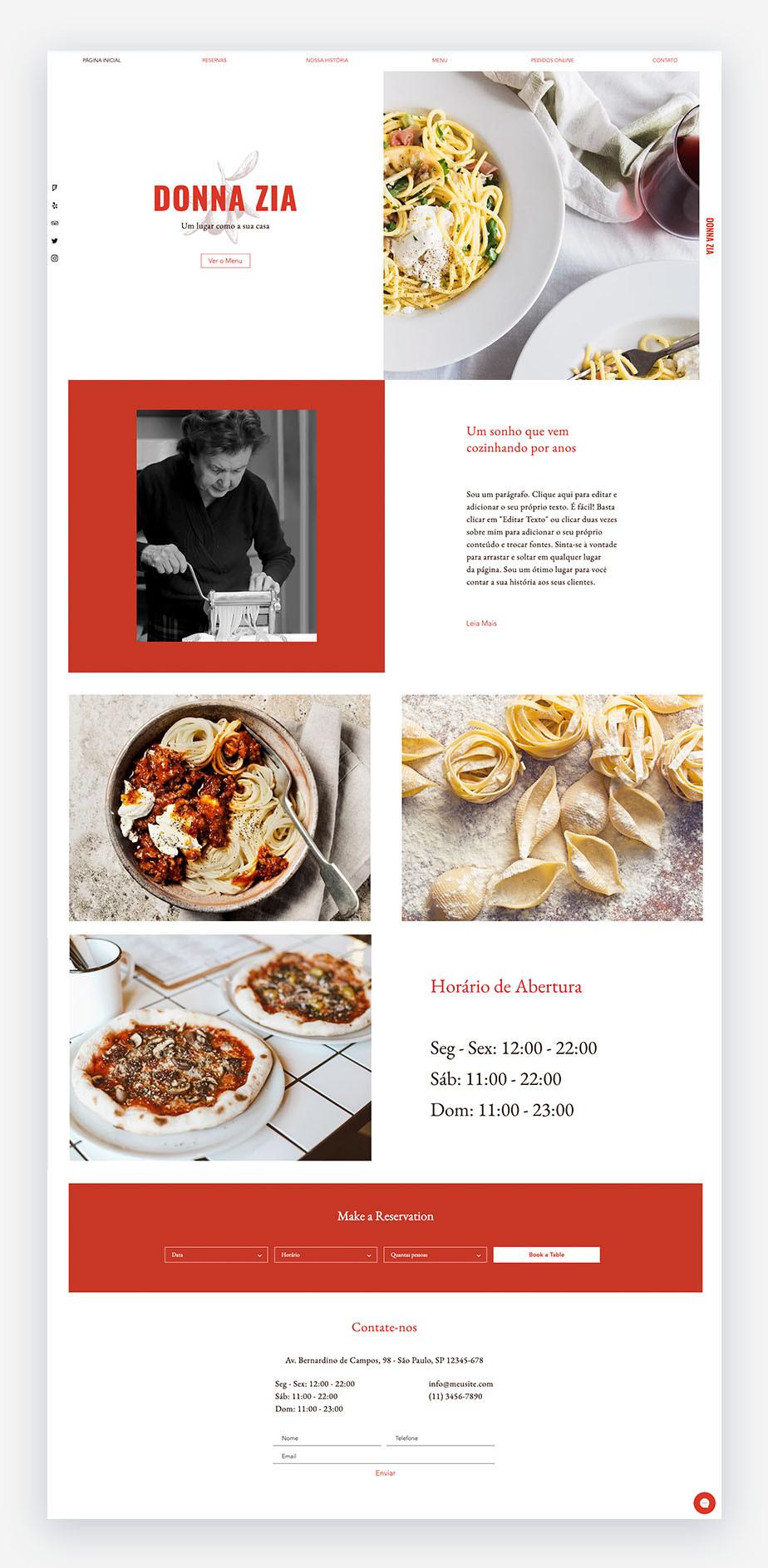 Exemplo de template de restaurante italiano que pode ser adaptado para qualquer negócio gastronômico