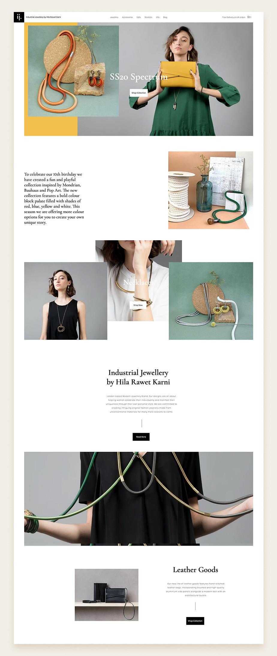 eCommerce de joyería de Hila Rawet Karni, sitio web de Wix