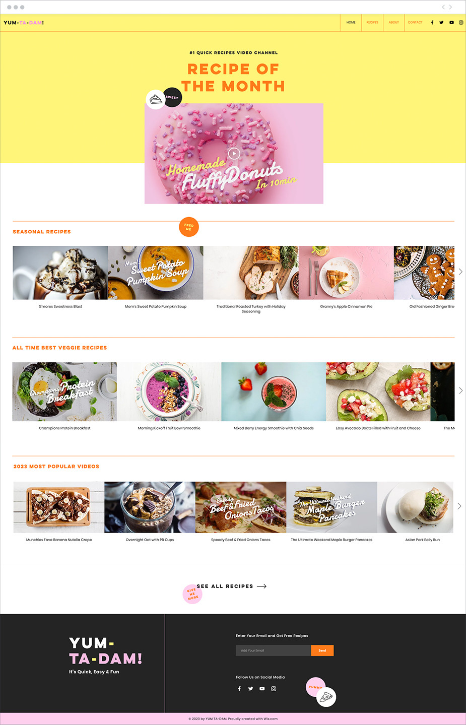 Plantilla para página web de recetas online
