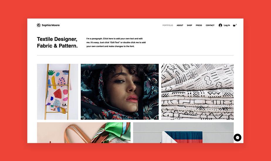 Шаблоны сайта портфолио для творческих профессий: сайт портфолио для дизайнера по текстилю