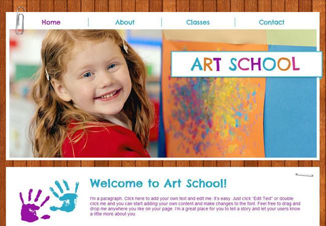 Template Wix pour des leçons d'art pour les enfants