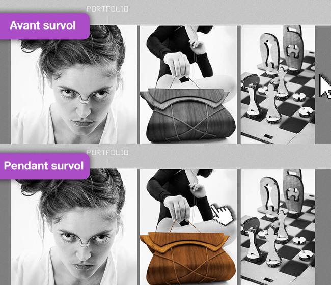 Site de Naomiki avec des effets sur les images avant-après survol de la souris