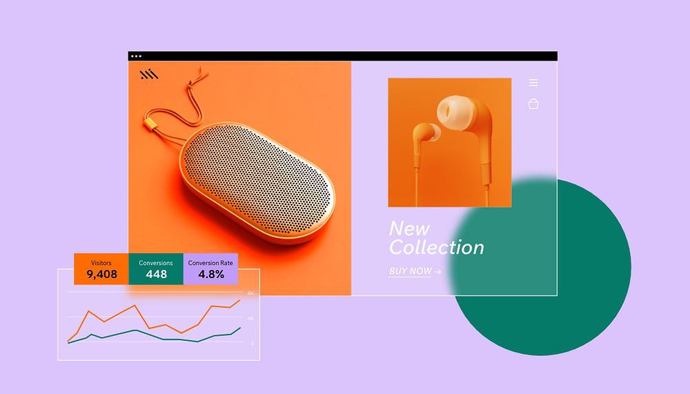 모던한 오렌지빛 색상의 이어폰과 이어폰 케이스 이미지