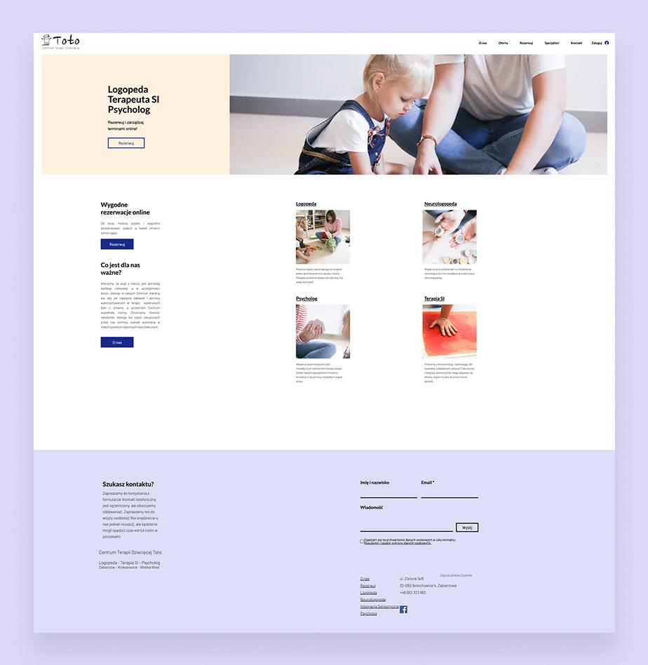 Przykład strony Wix Bookings: Centrum Toto