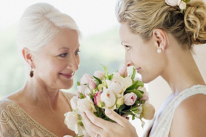 Bride in wedding gown - time with Mom