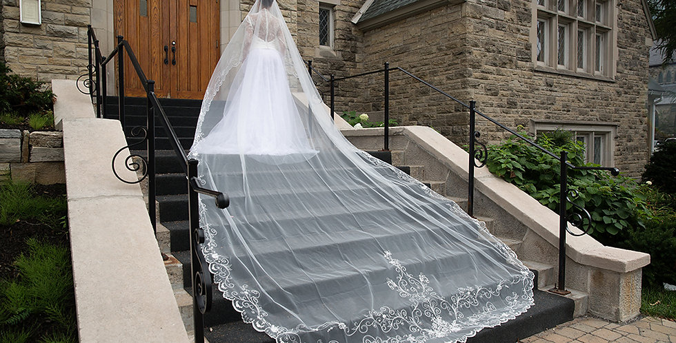 Royal Veil with Embroidery - Double Layer
