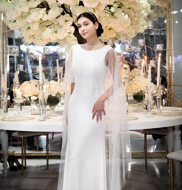 crepe low back wedding dress