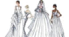 A-line, mermaid, boho wedding dresses sketch