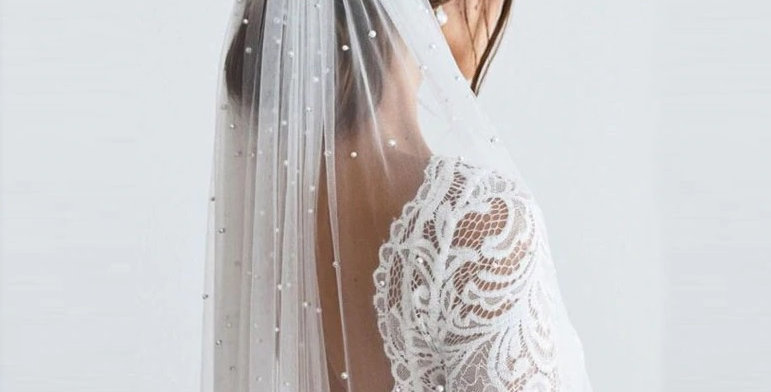 Bridal Veil with Pearls - Single Layer