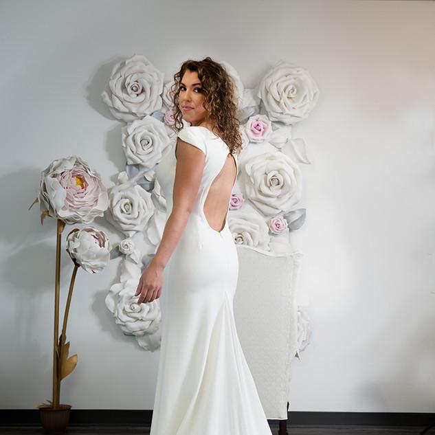 low back crepe wedding dress