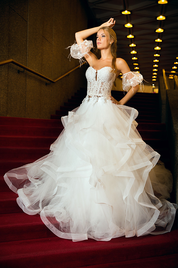 Multi-layer skirt wedding dress from Poshfair Bridal store in Ottawa