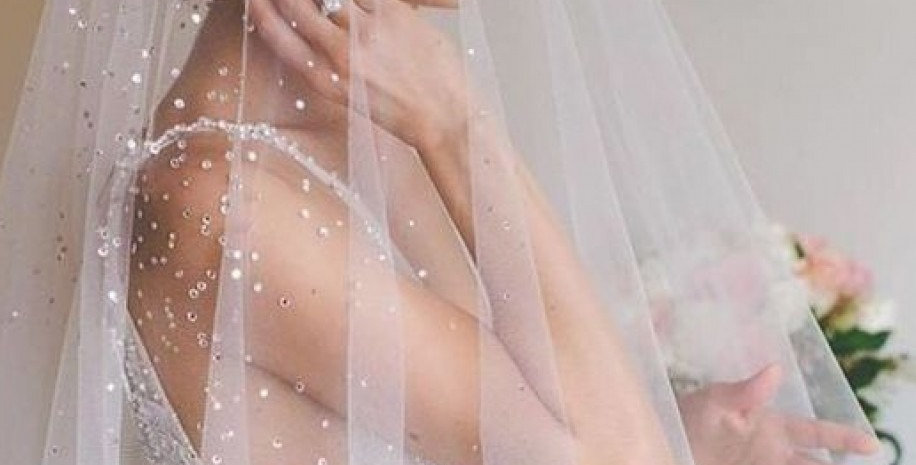Bridal Veil with Pearls - Double Layer