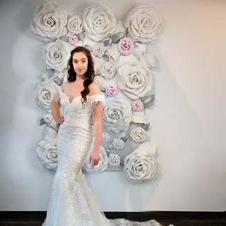 off shoulder long train wedding dress