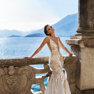plunging neck wedding dress