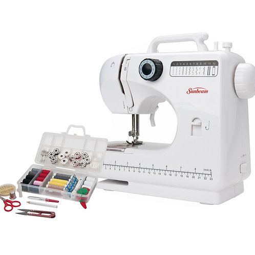 Sunbeam Compact Sewing Machine w/ Home Essentials Sewing Kit