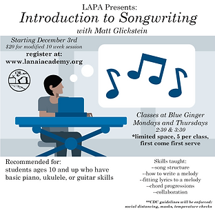 Introduction to Songwriting flyer Decemb