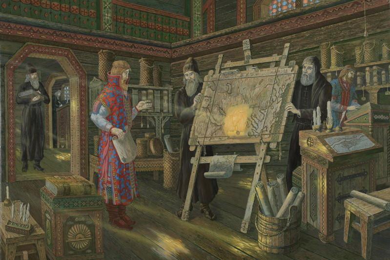 В монастырской библиотеке.