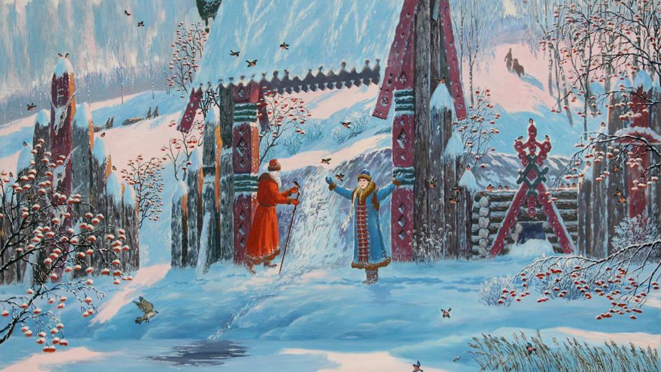 Дед Мороз и Снегурочка у источника Ледич.