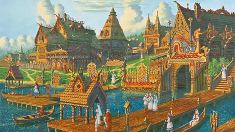 Город у озера Причалы.