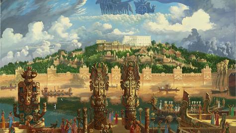 Вид на центральную часть столицы Атлантиды. Храм Посейдона.