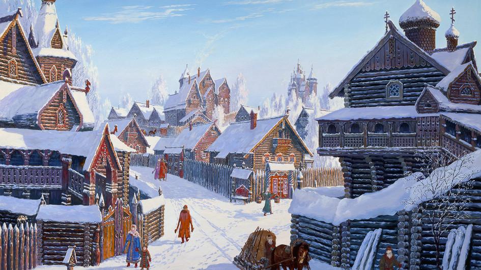 Погожий зимний день в древнерусском городе.