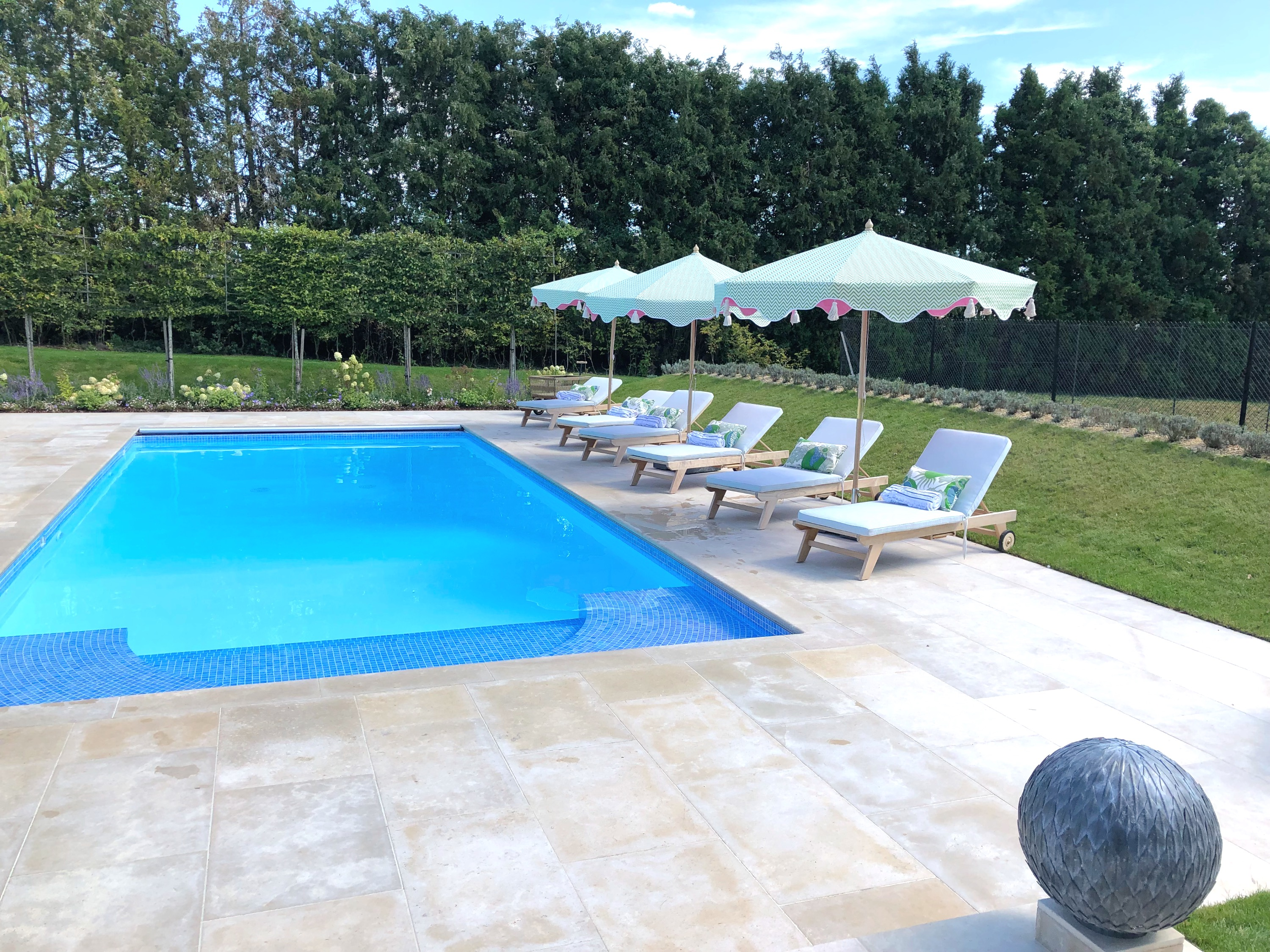Pool Loungers with Bespoke Cushions & Parasols