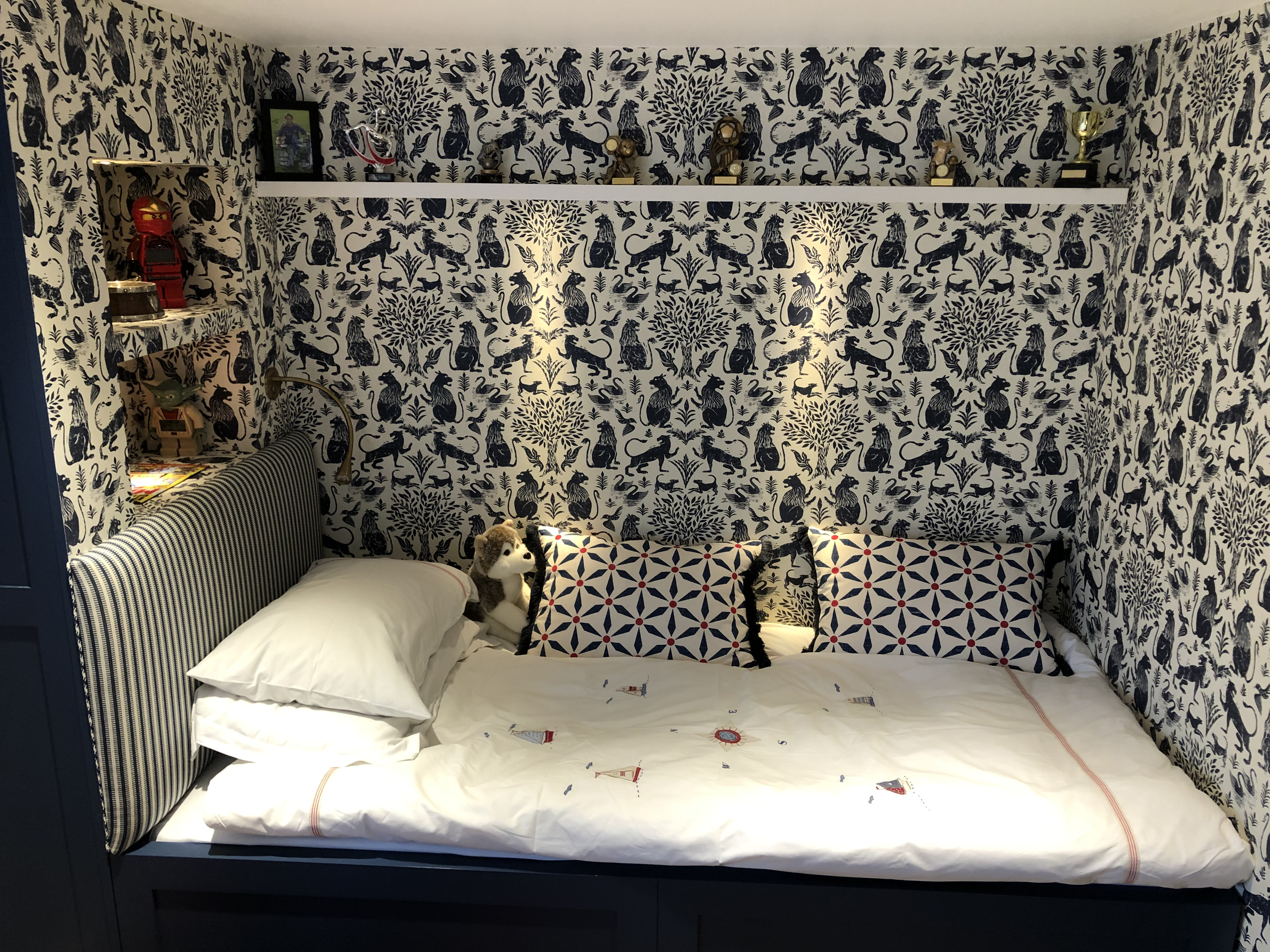 Wallpapered Cabin Bed