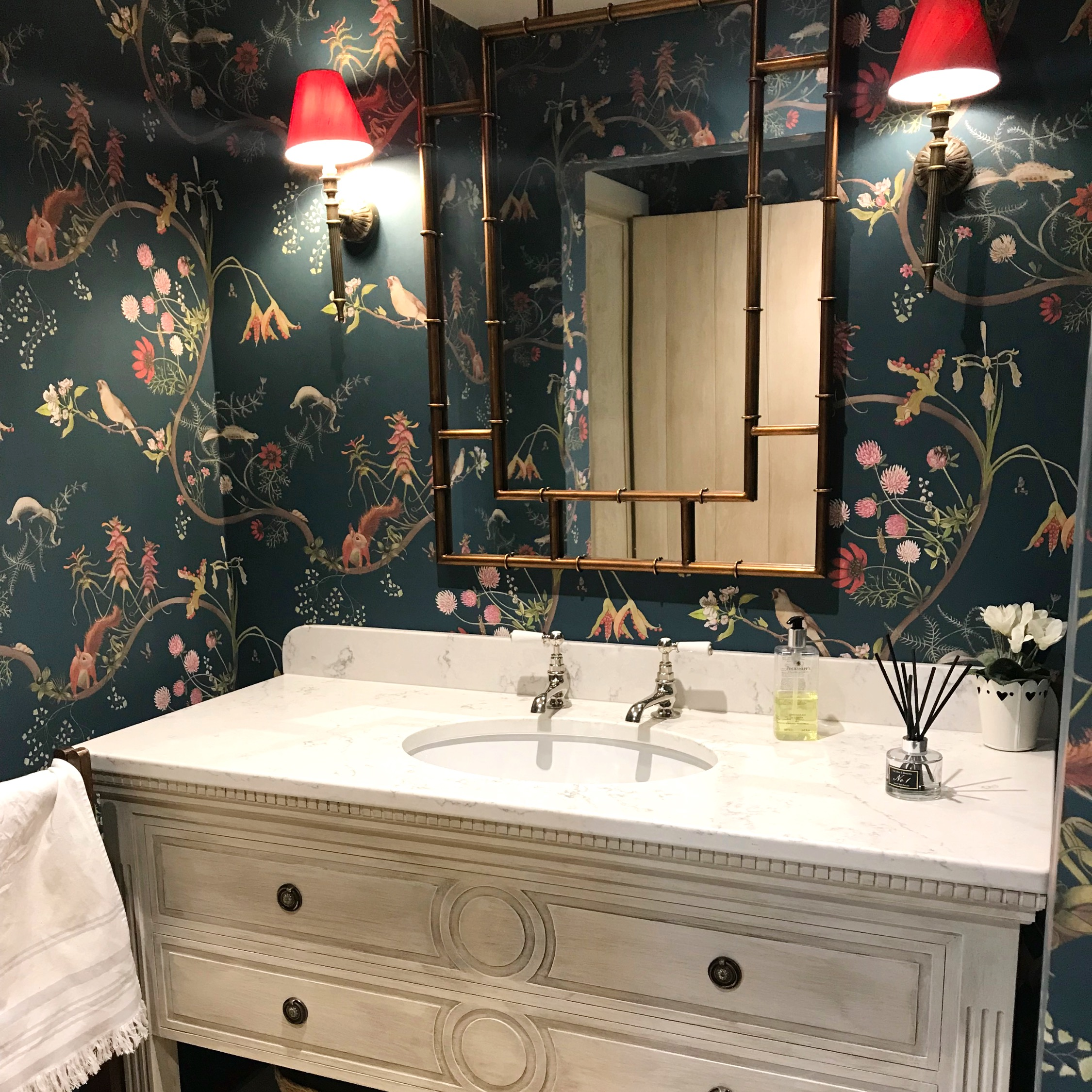 Wallpapered Cloakroom Bespoke Joinery