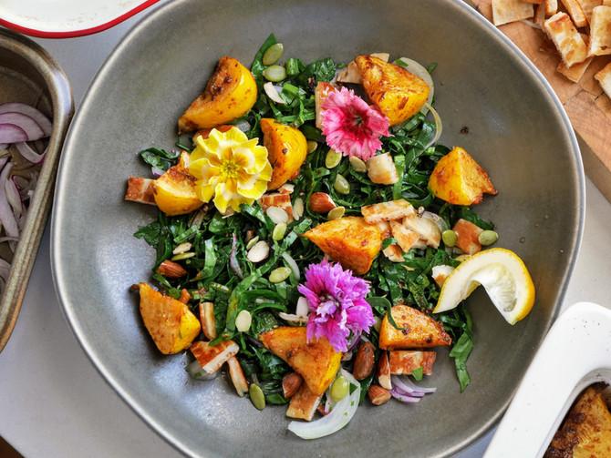 Pattypan and Halloumi Salad