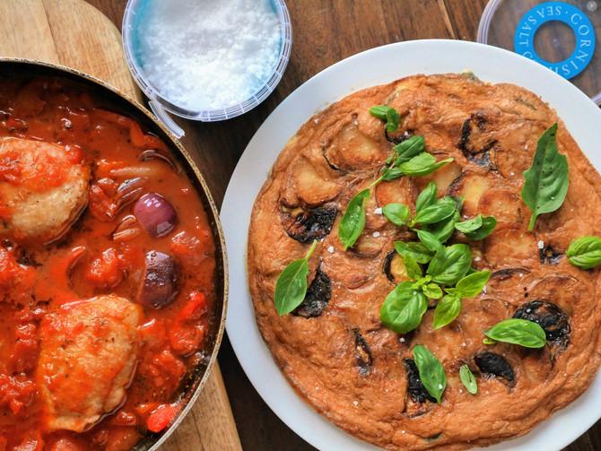 Courgette and Potato Fritatta and Chicken