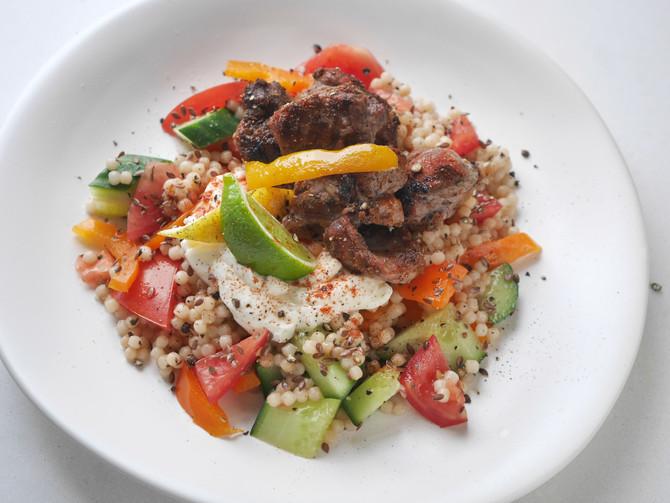 Paprika Lamb and Ptitim Salad