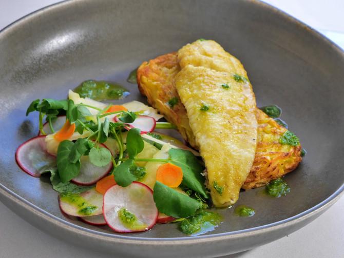 Turmeric Fish, Peppery Salad