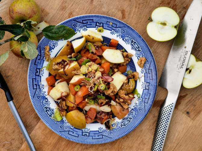 Smoked Apple, Walnut and Kumara Salad