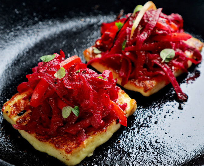 Halloumi with Beetroot and Honey Relish