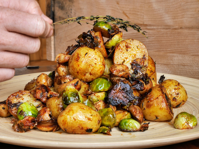 Badass Grilled Potato and Brussell Sprouts