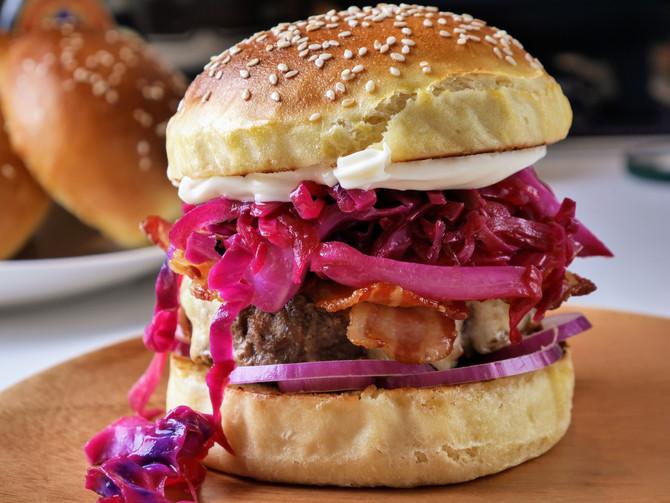 Beef Bacon and Kimchi Burger