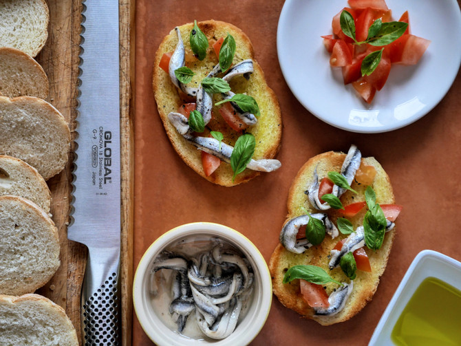 Anchovy and Basil Bruschetta