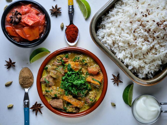 Lamb and Squash Saagwala with a Persimmon and Tamarillo Chutney