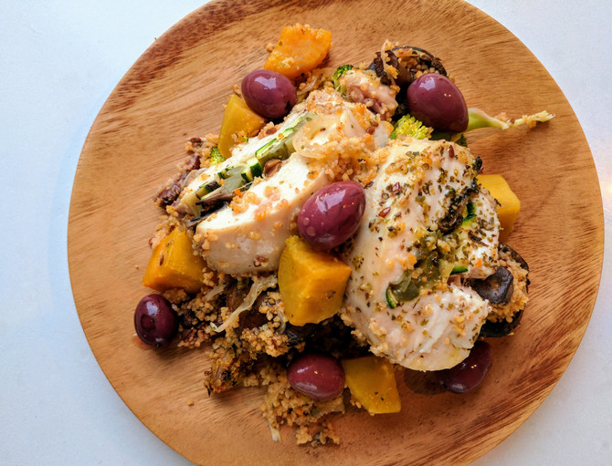 Stuffed Sous Vide Chicken, Baked Cous Cous